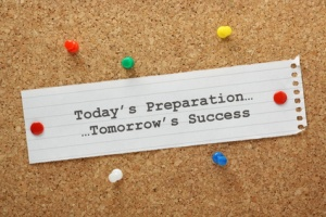 Preparation Leads to Success concept on a notice board
